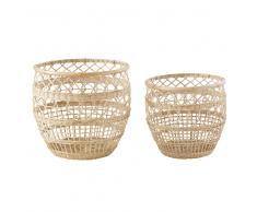2 cestas caladas de mimbre