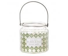 Vela perfumada en tarro de cristal estampado verde y blanco