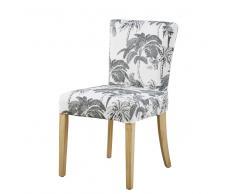 Funda de silla de algodón blanco con estampado de palmeras