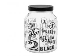 Tarro de cristal con estampado negro