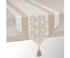 Camino de mesa de algodón beige L 150 cm WONDERFUL