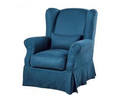 Funda de sillón de lino lavado azul intenso
