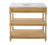 Mueble para lavabo de roble macizo y mármol blanco Charline