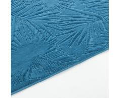 Toalla para invitados de terciopelo devoré azul con lunares bordados 30x50