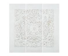 Lienzo tríptico de polirresina blanca 90 x 90 cm UDAIPUR