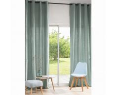 Cortina de ojales de lino lavado verde grisáceo 130x300 - la unidad