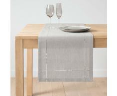 Camino de mesa de algodón gris y plateado