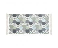 Alfombra de algodón azul, blanco y verde con motivos de azulejos de cemento 90x150