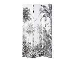 Biombo con impresión de bosque tropical en blanco y negro