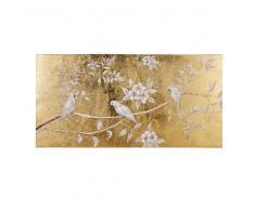 Lienzo pintado dorado con pájaros blancos 130x65