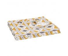 Cortina de ojales de algodón amarillo con motivos ikat 105x250 - la unidad