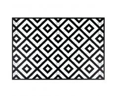 Mantel individual de vinilo blanco y negro con motivos decorativos