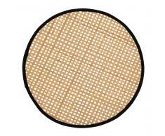 Mantel individual redondo de bambú trenzado de color negro y natural