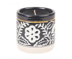 Vela perfumada de cerámica azul con motivo decorativo floral blanco