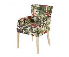 Funda de sillón con estampado vegetal multicolor