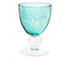 Copa de vino de cristal con burbujas azul turquesa MINT
