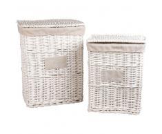 2 cestas de la ropa de mimbre y lino