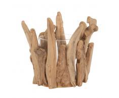 Candelabro de lithocarpus y vidrio