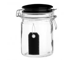 Tarro de cristal y cerámica negro con etiqueta Alt.15