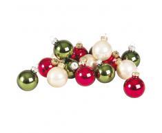 Caja de 16 bolas de Navidad de cristal multicolor