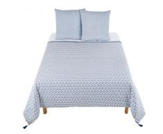 Juego de cama de algodón con motivos decorativos azules 220x240