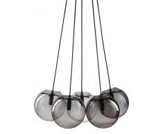 Lámpara de techo con 5 bolas de cristal y cristal ahumado