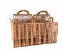 Maisons du Monde 3 cestas rectangulares de ratán