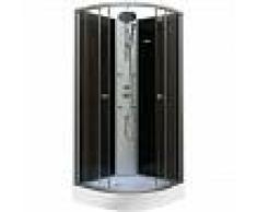 DP Grifería - Cabina de ducha de 1/4 de circulo en color negro, modelo