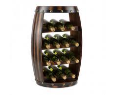 Klarstein Barrica Botellero de madera estantería para vinos de 14 botellas mader