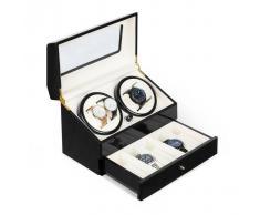 Klarstein Geneva Estuche para 4 relojes 4 modos Cajón Negro