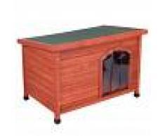zooplus Exclusive Set completo: caseta de madera Woody con puerta y aislante - L: 115 x 76 x 80 cm (L x An x Al)