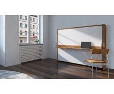 MobilierMoss Donny - Cama 160x200 cm moderna doble plegable con escritorio