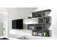 MobilierMoss Mueble TV de pared lacado blanco con biblioteca - Athyn