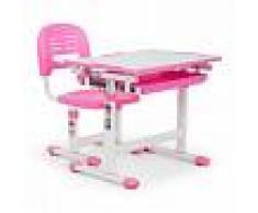OneConcept Annika Juego de 2 uds Escritorio infantil Mesa Silla de altura regulable rosa