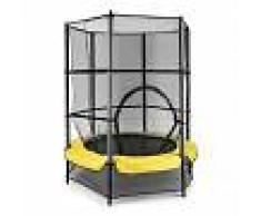 KLARFIT Rocketkid 3 Cama elástica 140 cm Red de seguridad amarillo
