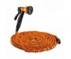 Waldbeck Water Wizard 30 Manguera de jardín flexible 8 funciones 30 m naranja