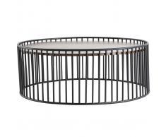 Mesa de centro redonda moderna madera oscura y metal HARP