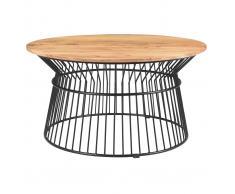 Mesa de centro redonda en acacia y metal SPIRIT
