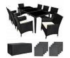 TECTAKE Conjunto de ratán y aluminio Mónaco - muebles de jardin, conjunto