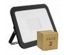 EFECTOLED Pack Foco Proyector LED Slim Cristal 100W Negro (2 Un) Blanco Frío