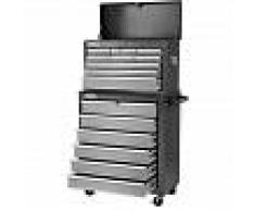 GREENCUT Carro para herramientas armario acero 4 ruedas 16 cajones Negro/plata