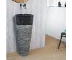 WANDA COLLECTION Lavabo de pie cónico de piedra FLORENCIA negro - WANDA COLLECTION