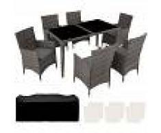 TECTAKE Conjunto de sillas de ratán y aluminio 6+1 - muebles de jardin, muebles