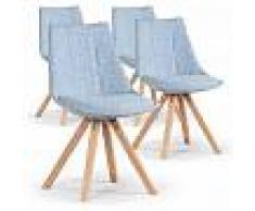 Lea REGALO CESTA NAVIDAD Pack de 4 sillas Nordicas de comedor Lea tela azu