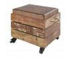 Maisons du Monde Taburete con almacenaje de madera reciclada y piel de cabra marrón