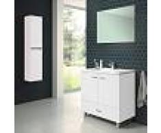 STANO Conjunto RAKI, Mueble de lavabo 80cm, espejo y columna BLANCO - STANO