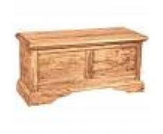 BISCOTTINI Baúl de estilo Country de madera maciza de tilo armazón blanco