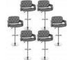 OOBEST Pack 6 Taburete de Bar Regulables en Altura -con Respaldo &