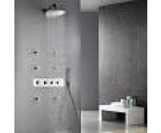 LOOKSHOP Conjunto moderno de ducha termostática con cabezal de lluvia montado en