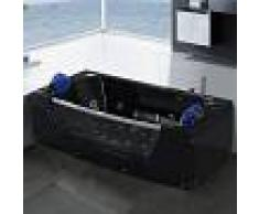 SIMBA Bañera hidromasaje Bañera de esquina hidromasaje 180 x 90cm negro